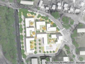 """Grafik: Das Büro """"Stadtraum Projekt"""" aus Münster überzeugte mit seinem Wettbewerbsbeitrag für das Areal am Kiesekampweg. Grafik: Stadt Münster."""