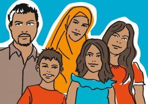 """Am Beispiel der """"Familie Aziz"""" erläutert das Faltblatt in einem Comic, wie Aufnahme und Integration von Flüchtlingen in Münster verläuft."""
