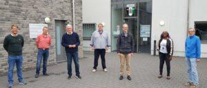 (v.l.): Sven Schlüter (Geschäftsführer Westfalia Kinderhaus), Wolfgang Wellimg (2.Vors. Westfalia Kinderhaus), Thomas Kollmann (Ratskandidat der SPD für Kinderhaus), Magnus Hömberg (Vorsitzender Westfalia Kinderhaus), Dr. Michael Jung (SPD-Oberbürgermeisterkandidat), Bibiane Benadio (Ratskandidatin der SPD für Kinderhaus), Hannes Hölscher (ebenfalls 2.Vors. Westfalia Kinderhaus), (Quelle: Thomas Kollmann).
